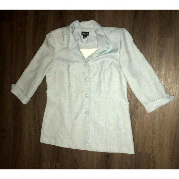 Leslie Fay Blue Four Button Size 16 Womens Blazer